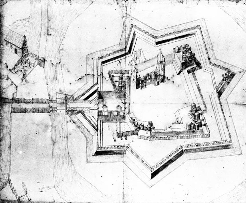 Das ausgebrannte Schloss nach 1658